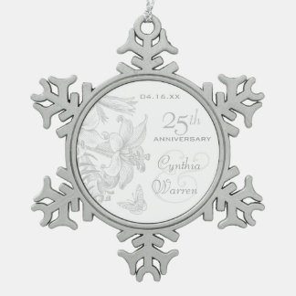25th Silver Wedding Anniversary Custom Keepsake Pewter Snowflake Decoration