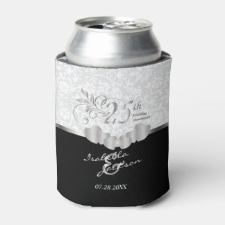 25th Silver Wedding Anniversary   Damask Pattern Can Cooler