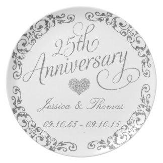 25th Silver Wedding Anniversary Decorative Plate