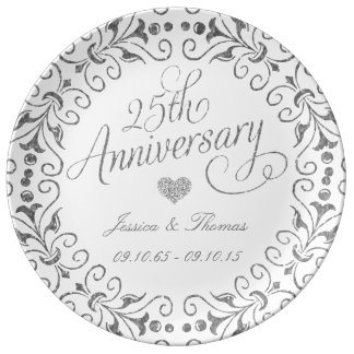 25th Silver Wedding Anniversary Decorative Plate Porcelain Plates