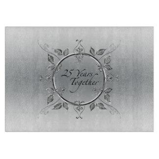 25th Silver Wedding Anniversary | Elegant 25 Years Cutting Board