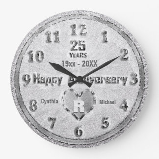 25th Silver Wedding Anniversary Glitter Party Large Clock