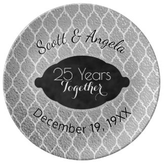 25th Silver Wedding Anniversary Keepsake 25 Years Plate