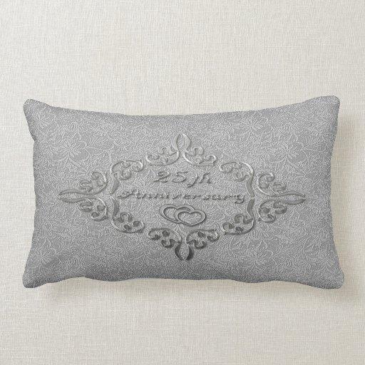 25th Silver Wedding Anniversary Lumbar Pillow