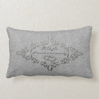 25th Silver Wedding Anniversary Lumbar Pillow Cushions