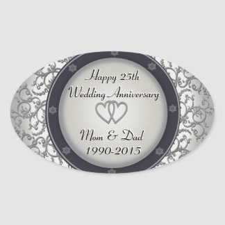 25th Silver Wedding Anniversary Oval Sticker