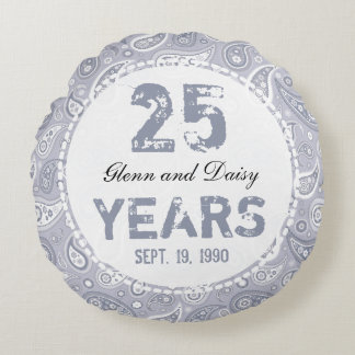 25th Silver Wedding Anniversary Paisley Pattern Round Cushion