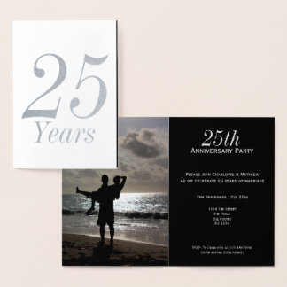 25th Silver Wedding Anniversary Party Personalised Foil Card
