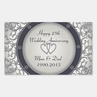 25th Silver Wedding Anniversary Rectangular Sticker