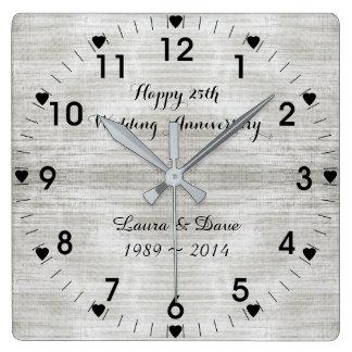 25th Silver Wedding Anniversary Square Wall Clock