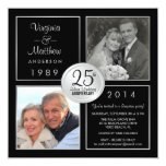 25th Silver Wedding Anniversary Surprise Party 13 Cm X 13 Cm Square Invitation Card