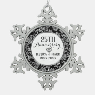 25th Silver Wedding Anniversary Template Snowflake Pewter Christmas Ornament