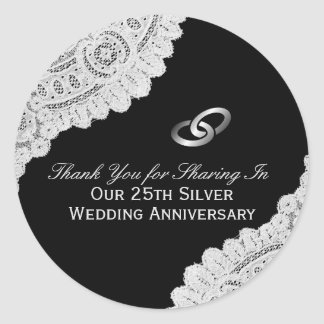 25th Silver Wedding Anniversary Thank You Classic Round Sticker