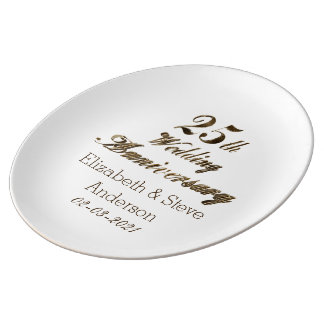 25th Silver Wedding Anniversary Typography Elegant Plate