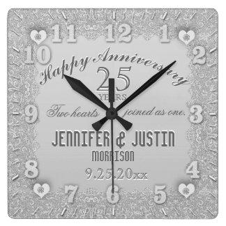 25th Silver Wedding Anniversary Wallclocks