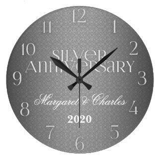 25th Silver Wedding Annivsersary Custom Large Clock