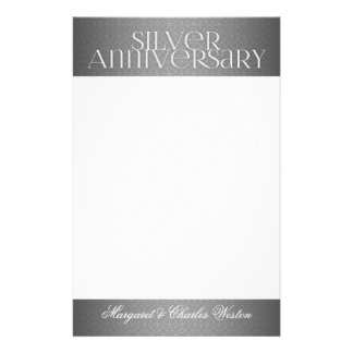 25th Silver Wedding Annivsersary Custom Stationery Paper