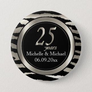 25th Silver Zebra Stripe Wedding Anniversary 7.5 Cm Round Badge