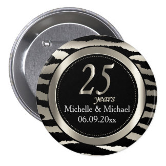 25th Silver Zebra Stripe Wedding Anniversary 7.5 Cm Round Badge