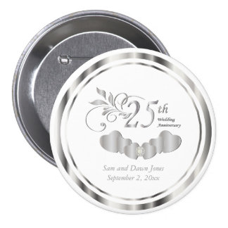 25th Simple Silver Wedding Anniversary 7.5 Cm Round Badge