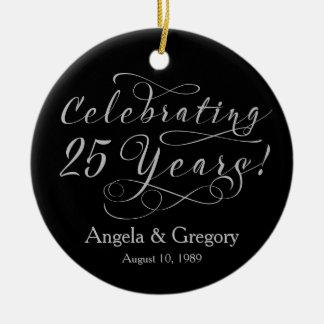 25th Wedding Anniversary 25 Silver Black Ceramic Ornament