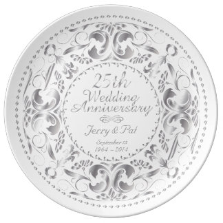 25th Wedding Anniversary 2 - Ceramic Plate Porcelain Plates