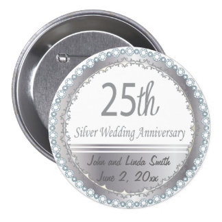 25th Wedding Anniversary 7.5 Cm Round Badge