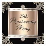 25th Wedding Anniversary Art Deco Black Coffee Personalised Announcements