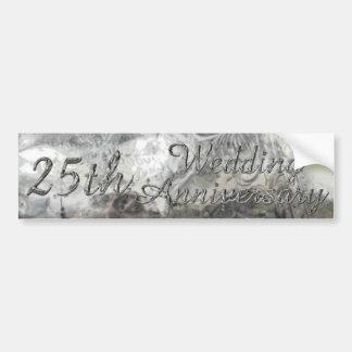25th Wedding Anniversary Chic Silver Typography Bumper Sticker