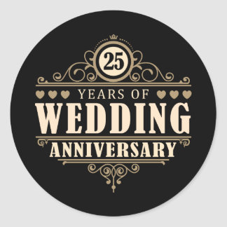 25th Wedding Anniversary Classic Round Sticker