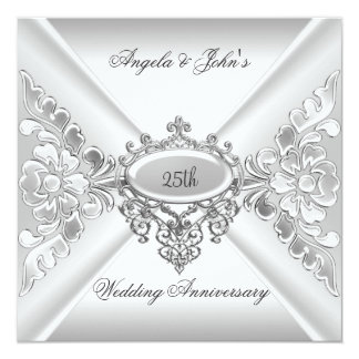 25th Wedding Anniversary Elegant Silver White 2 Personalized Announcement