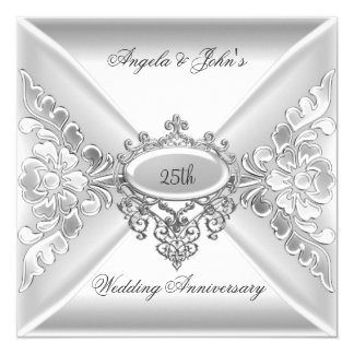 25th Wedding Anniversary Elegant Silver White Card