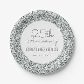25th Wedding Anniversary Faux Silver Glitter 7 Inch Paper Plate