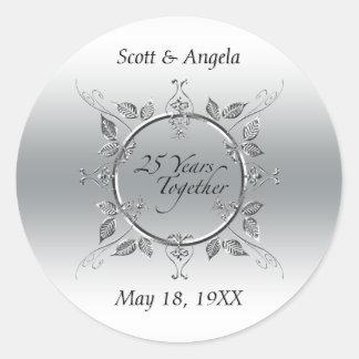 25th Wedding Anniversary Favor Silver 25 Years Classic Round Sticker