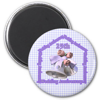 25th Wedding Anniversary Gifts 6 Cm Round Magnet