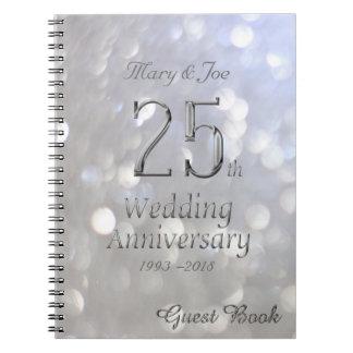 25th Wedding Anniversary Guest Book Silver Grey Spiral Note Book