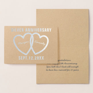 25th Wedding Anniversary Hearts Silver Foil Card