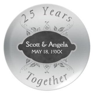 25th Wedding Anniversary Keepsake   25 Years Plate