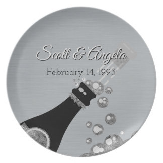 25th Wedding Anniversary Metallic Silver Champagne Plate