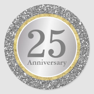 25th Wedding Anniversary Modern Silver & Gold Classic Round Sticker