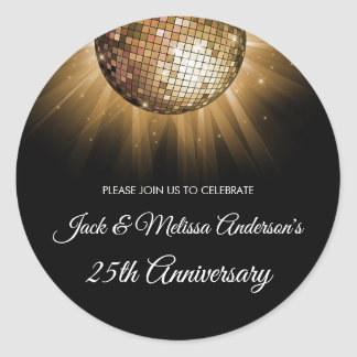 25th Wedding Anniversary Party Gold Disco Ball Classic Round Sticker