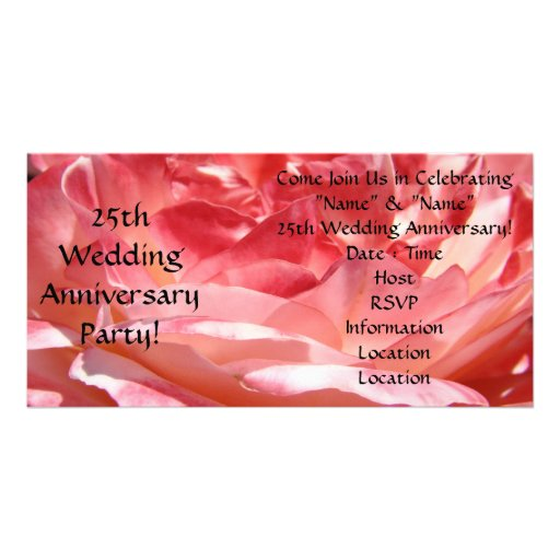 25th Wedding Anniversary Party Invitations Rose Photo Cards