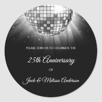 25th Wedding Anniversary Party Silver Disco Ball Classic Round Sticker