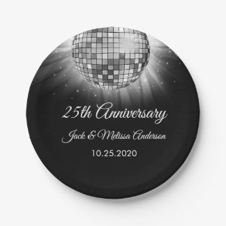 25th Wedding Anniversary Party Silver Disco Ball Paper Plate