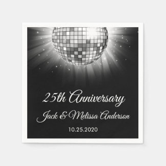 25th Wedding Anniversary Party Silver Disco Ball Paper Serviettes