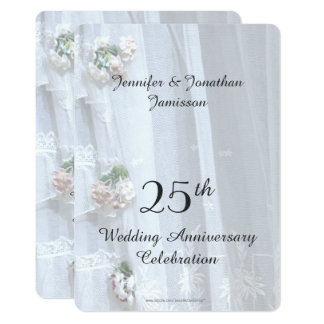 25th Wedding Anniversary Party, Vintage Lace Card