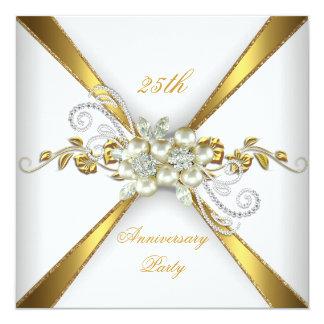 25th Wedding Anniversary Pearl Gold Silver Card