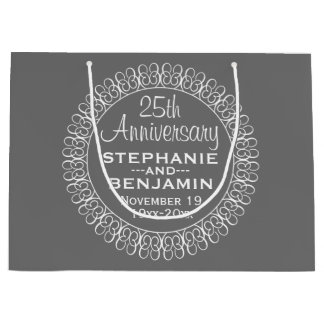 25th Wedding Anniversary Personalized Large Gift Bag