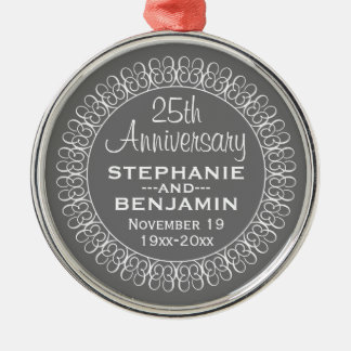 25th Wedding Anniversary Personalized Metal Ornament