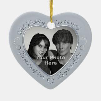 25th Wedding Anniversary Photo Ceramic Heart Decoration